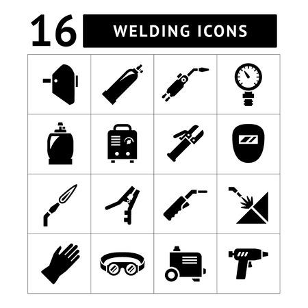 soldador: Conjuntos de iconos de soldadura aislados en blanco