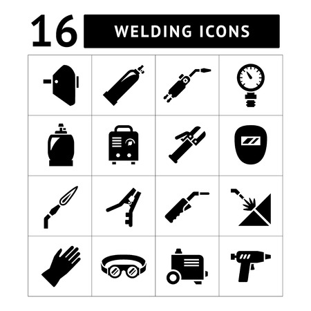 welding worker: Set icons of welding isolated on white Illustration