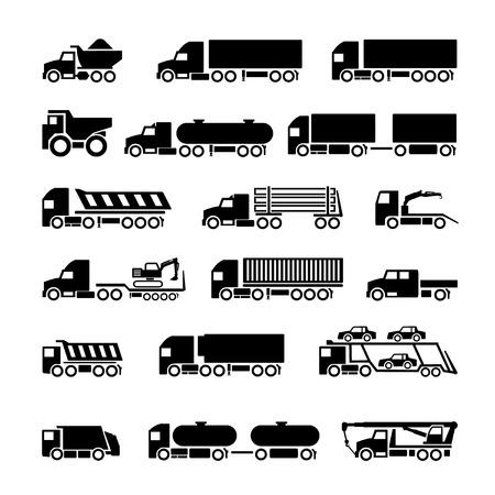 basurero: Camiones, remolques y vehículos iconos conjunto aislado en blanco