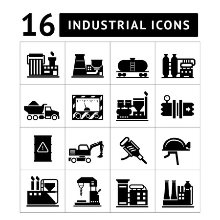coal plant: Industrial and factory icons set isolated on white