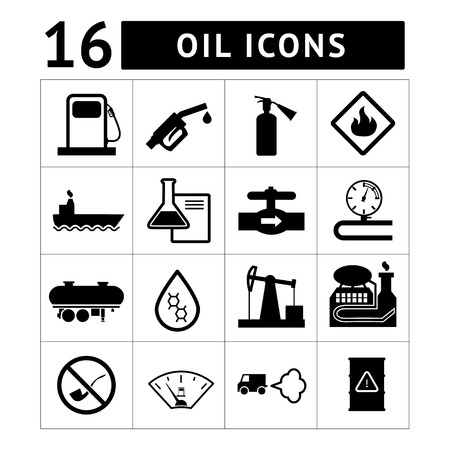 industrial ship: Oil industry and petroleum icons set isolated on white Illustration