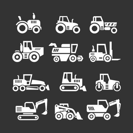 Set icons of tractors, farm and buildings machines, construction vehicles isolated on black Vector