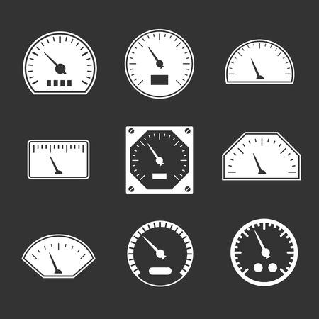 contador electrico: Iconos Conjunto de velocímetro aisladas en negro Vectores