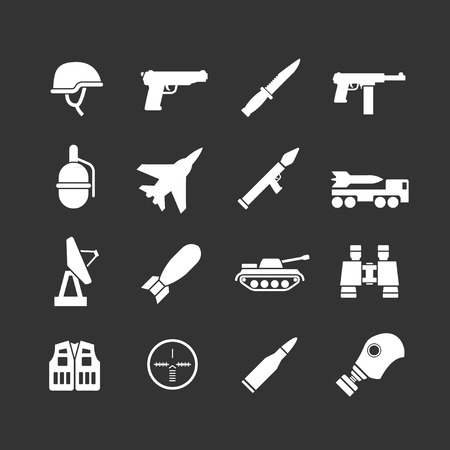 army helmet: Set icons of army and military isolated on black Illustration