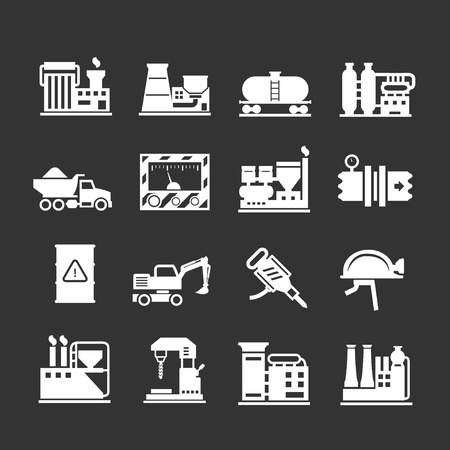 metallurgy: Set icons of industrial and factory isolated on black