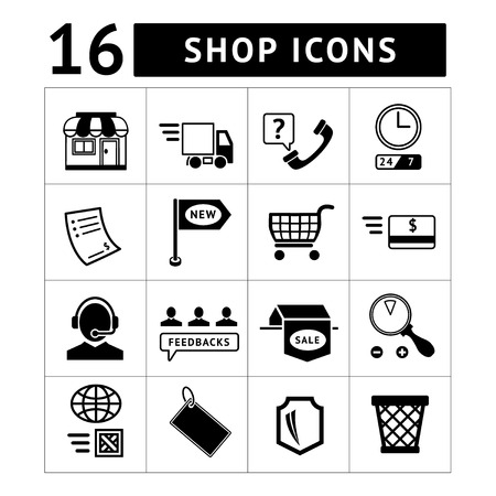 Shopping and e-commerce icons set isolated on white Vector