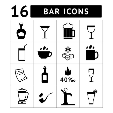 ice cubes: Set of bar, drinks and beverages icons isolated on white Illustration