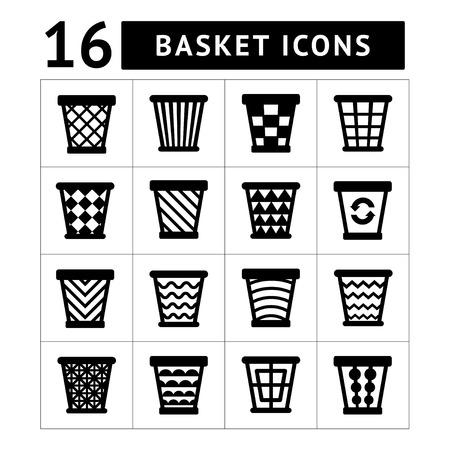 cesto basura: Iconos fijados de cesta de la basura. Cubo de basura para reciclaje. Vectores