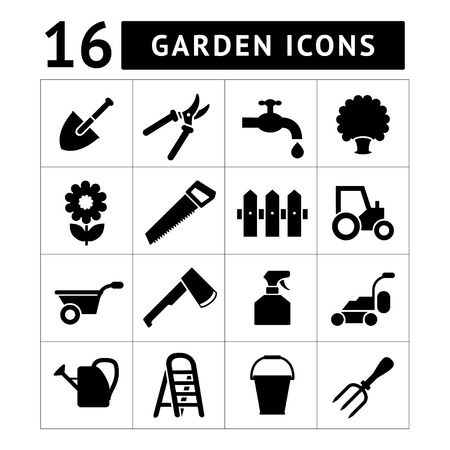 Garden icons isolated on white