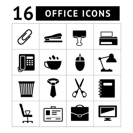 black pictogram: Office icon set isolated on white