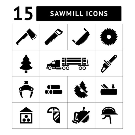 woodcutter: Set icons of sawmill, timber, lumber and woodworking isolated on white