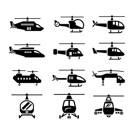 military helicopter: Set icons of helicopters isolated on white