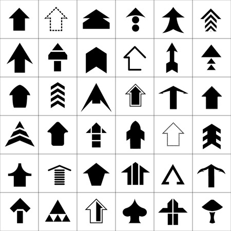 Set icons of arrows isolated on white Vector