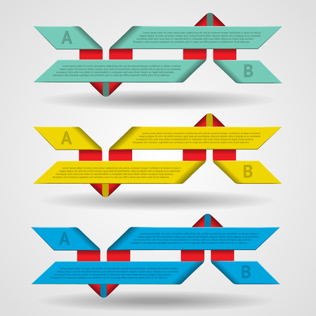 Modern set of ribbons infographics illustration Illustration