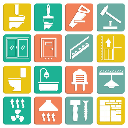 Set of flat icons repair isolated on white Illustration