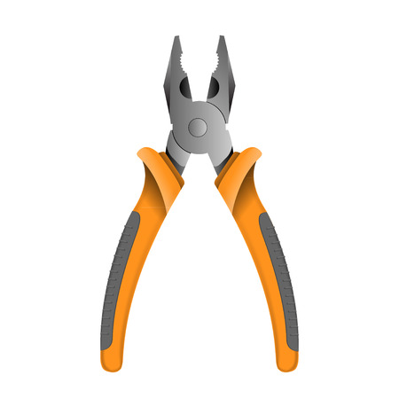 pliers: Orange pliers isolated on white.