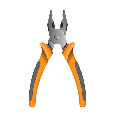 plier: Orange pliers isolated on white.