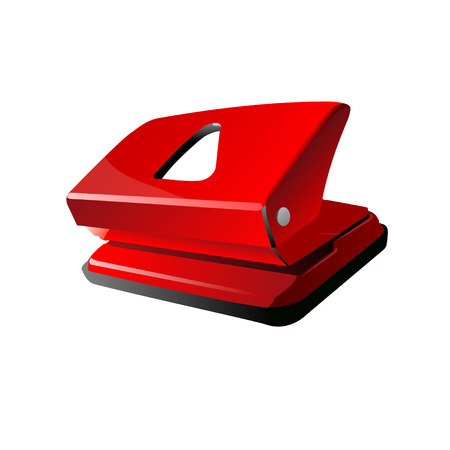perforator: Red office hole puncher isolated on white.