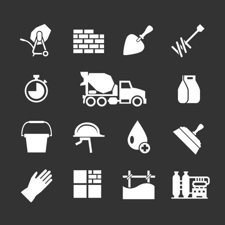 materiales de construccion: Conjuntos de iconos de cemento y hormigón aislados en negro Vectores