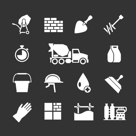 construction materials: Set icons of cement and concrete isolated on black