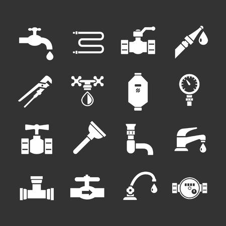 Fije los iconos de la plomería aislados en negro Ilustración de vector