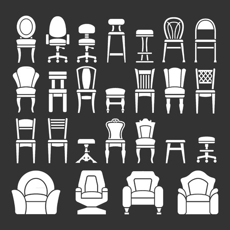 lounge chair: Set icons of chairs isolated on black