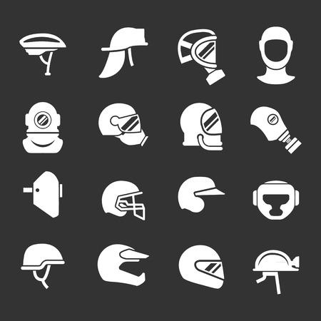 Set iconen van helmen en maskers geïsoleerd op zwart