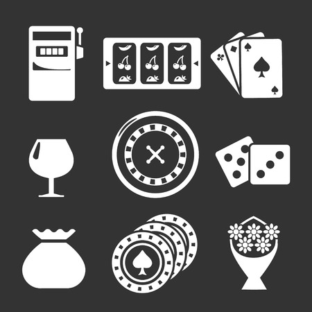 roulette wheel: Set icons of casino isolated on black