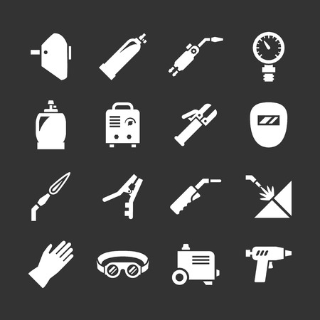 welding metal: Set icons of welding isolated on black