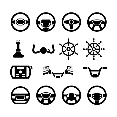Set icons of steering wheel, marine steering, helm, bicycle and motorcycle handlebar isolated on white
