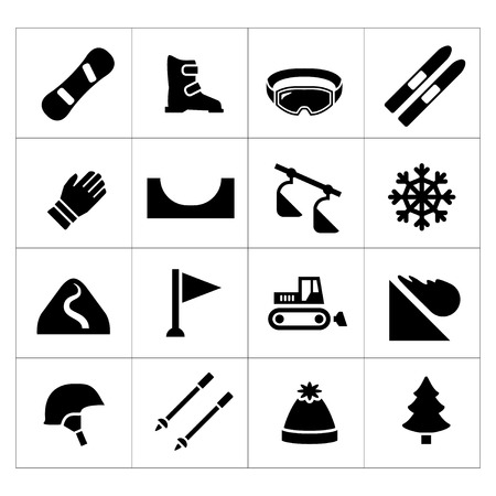ski jump: Set icons of skiing and snowboarding isolated on white