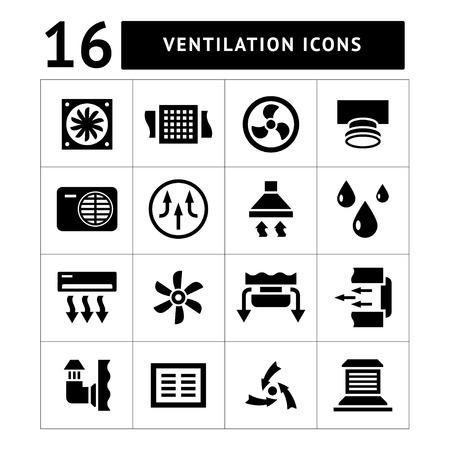 Set iconen van ventilatie en airconditioning op wit wordt geïsoleerd