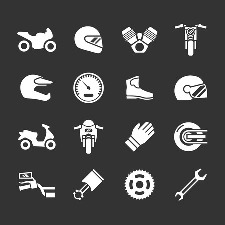 Set icons of motorcycle isolated on black Illustration
