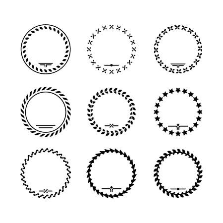 Set iconen van de lauwerkrans en moderne frames geïsoleerd op wit