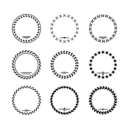 Set icons of laurel wreath and modern frames isolated on white
