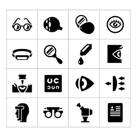 Set iconen van oogheelkunde en optometrie op wit wordt geïsoleerd Stock Illustratie