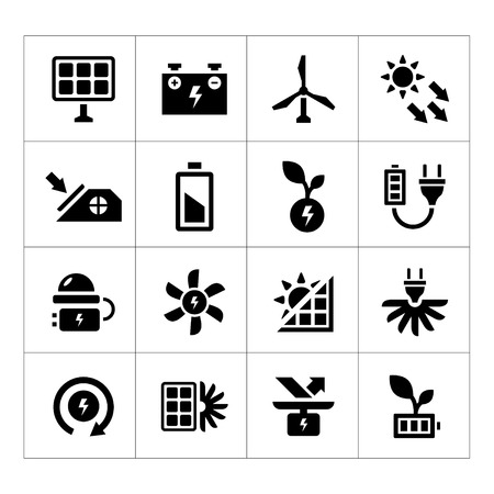 sources: Set icons of alternative energy sources isolated on white Illustration