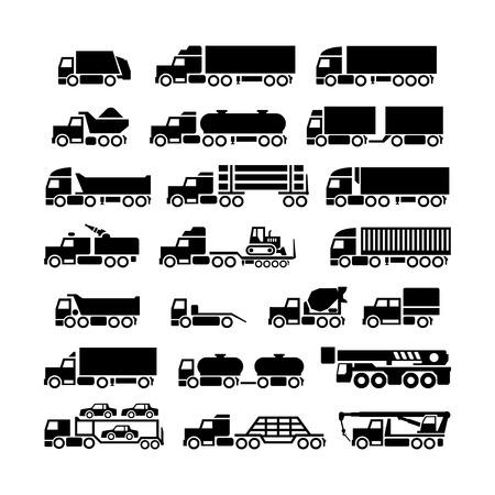 camion grua: Fije los iconos de camiones, remolques y vehículos aislados en blanco