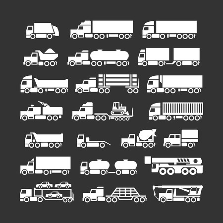 crane truck: Set icons of trucks, trailers and vehicles isolated on black Illustration