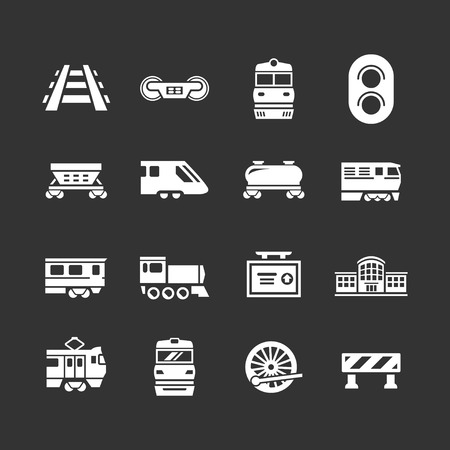 steam engine: Set icons of railroad and train isolated on black Illustration