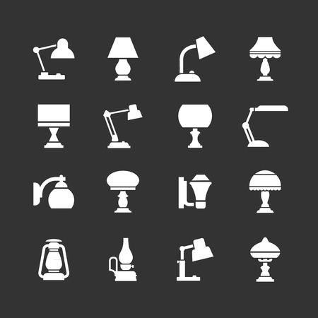 lamp silhouette: Set icons of lamps isolated on black
