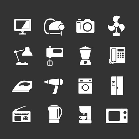 black appliances: Set icons of home technics and appliances isolated on black Illustration