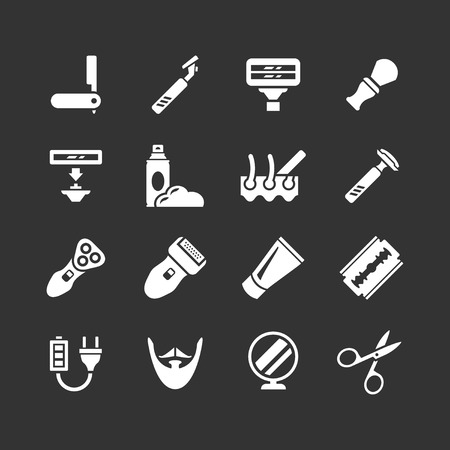 shave: Set icons of shave, barber equipment and accessories isolated on black Illustration