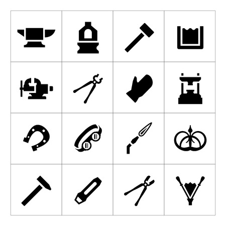 Set icons of forge isolated on white Vector