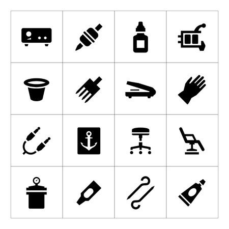 medical supplies: Set icons of tattoo equipment and accessories isolated on white Illustration