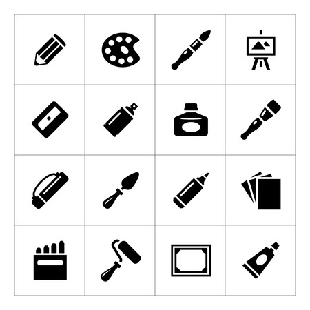 Set icons of art isolated on white Vector