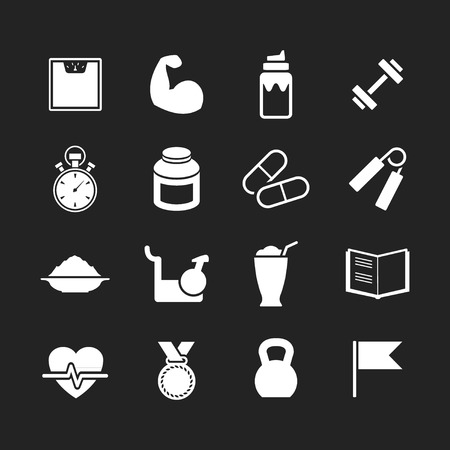 Set icons of fitness isolated on black Vector