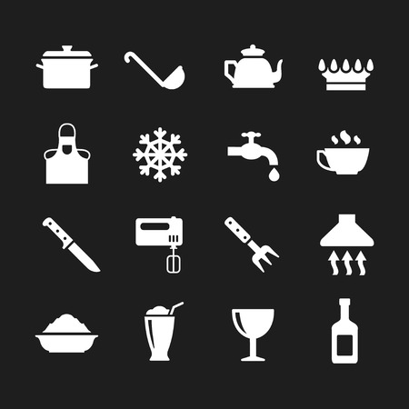 cooking utensils: Set icons of cooking and kitchen isolated on black