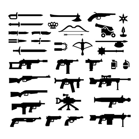 machine gun: Set icons of weapons isolated on white