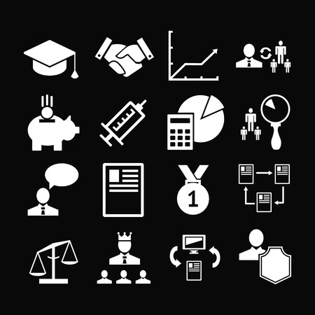 resources management: Set icons of human resources management isolated on black